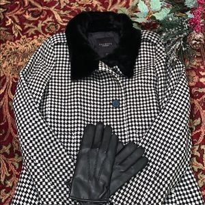 Talbots Houndstooth Print Wool Blend Coat Size 14